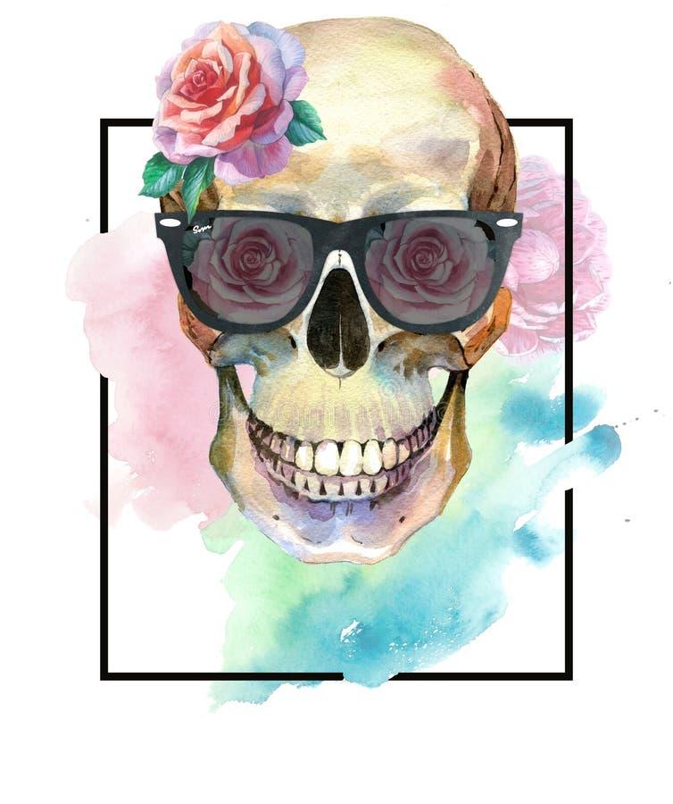Concepto del tatuaje de la acuarela con el cráneo en el elemento de las gafas de sol aislado libre illustration