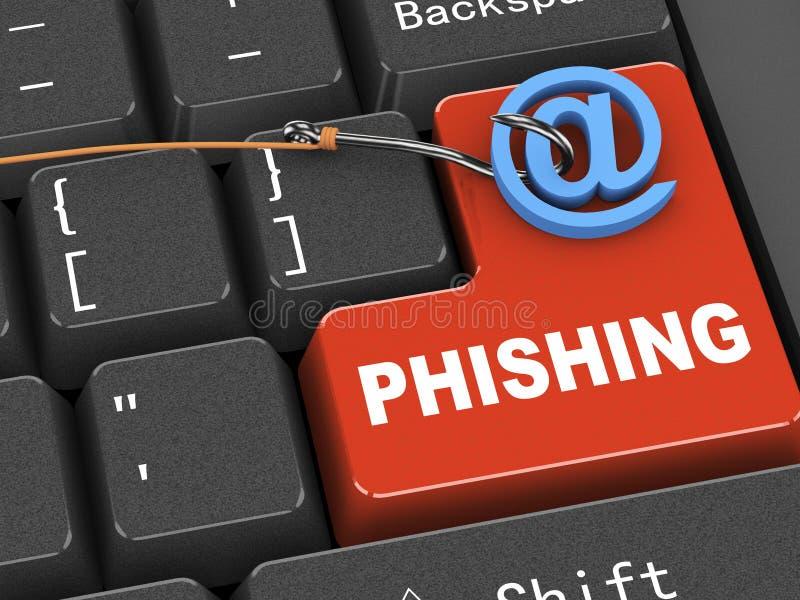 concepto del teclado 3d de phishing del malware stock de ilustración