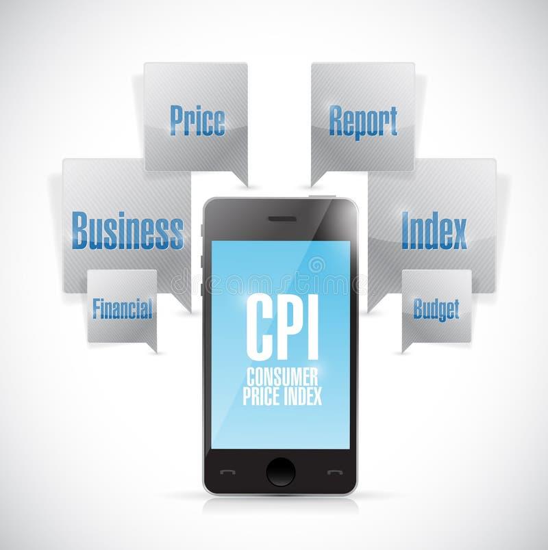 Concepto del teléfono del índice de precios al consumo stock de ilustración