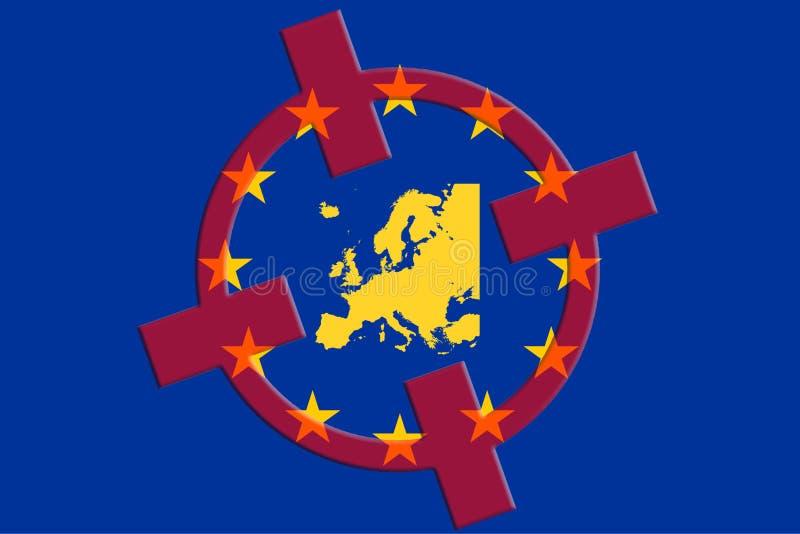 Concepto del terrorismo Blanco del terror de la UE de Europa Mapa rojo del retículo de la bandera de la UE fotos de archivo