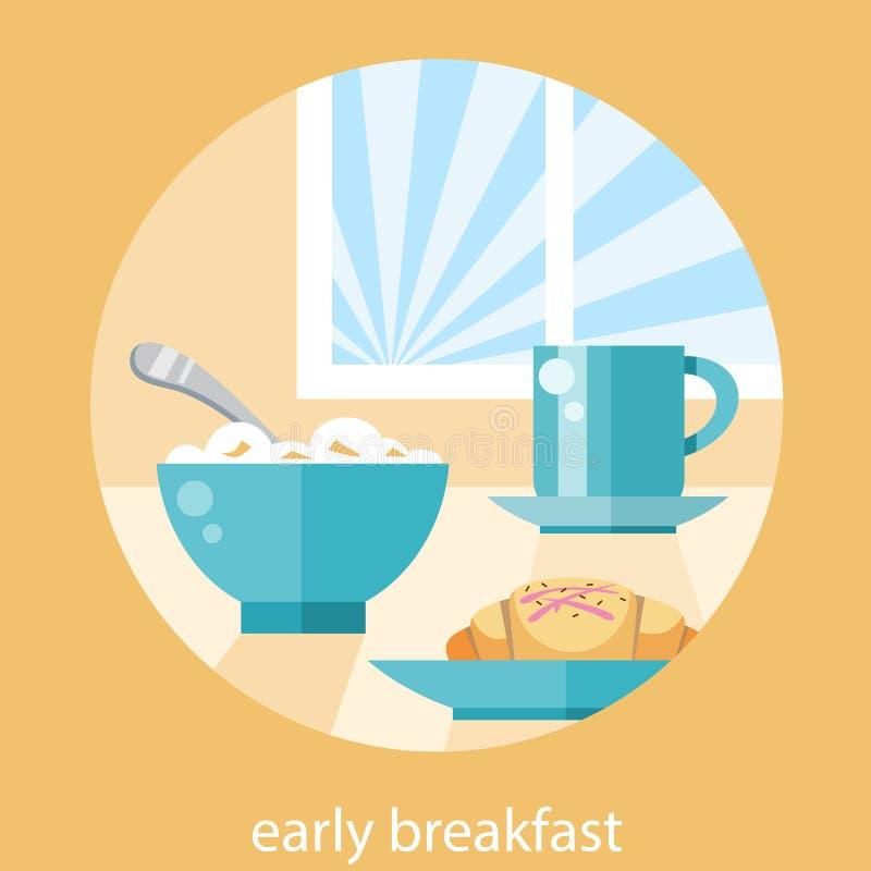 Concepto del tiempo de desayuno stock de ilustración