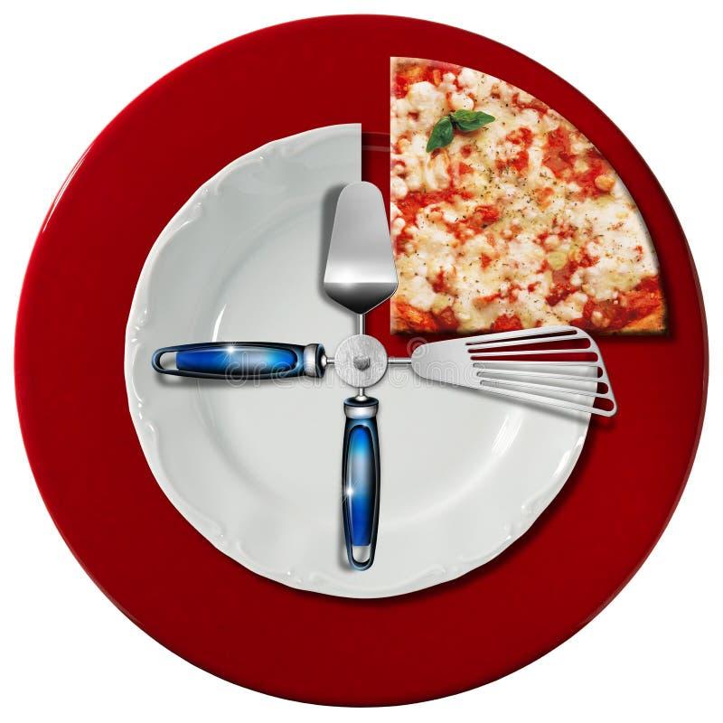 Concepto del tiempo de la pizza stock de ilustración