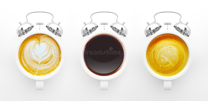 Concepto del tiempo del café stock de ilustración