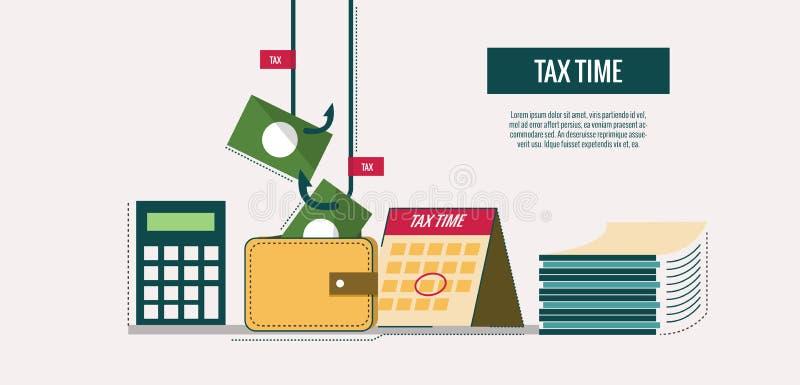 Concepto del tiempo del impuesto ilustración del vector