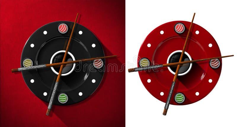 Concepto del tiempo del sushi - reloj libre illustration