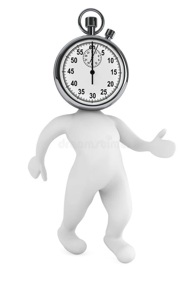 Concepto del tiempo en marcha. persona 3d como cronómetro libre illustration