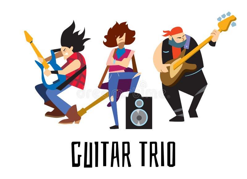 Concepto del trío de la guitarra con los músicos libre illustration
