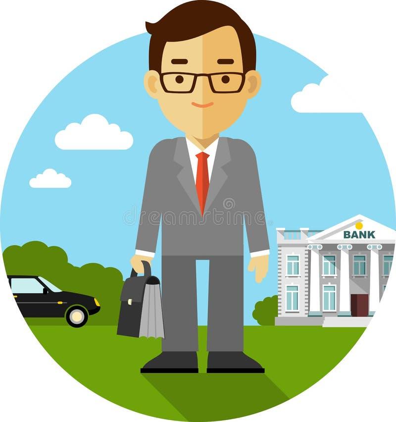 Concepto del trabajo del hombre de negocios ilustración del vector
