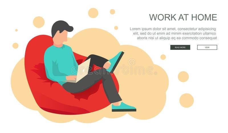 Concepto del trabajo en casa Trabajador independiente que se sienta en bolso perezoso con el top del revestimiento Concepto del l ilustración del vector