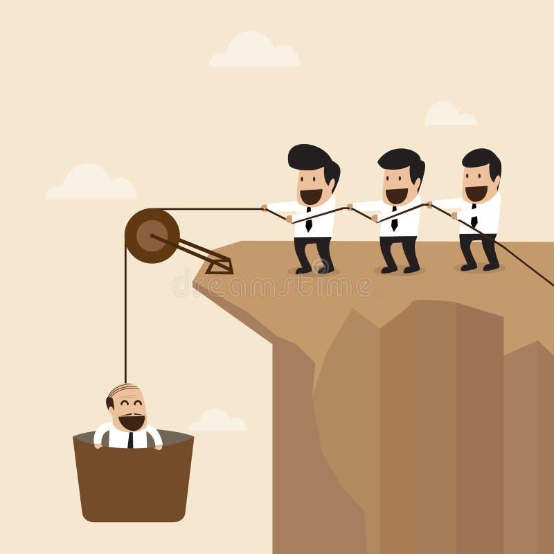 Concepto del trabajo en equipo: Ayuda de los empresarios para tirar de ano ilustración del vector