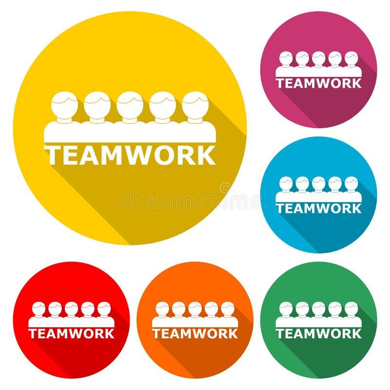 Concepto del trabajo en equipo con el icono del equipo de la gente del éxito o logotipo, sistema de color con la sombra larga libre illustration