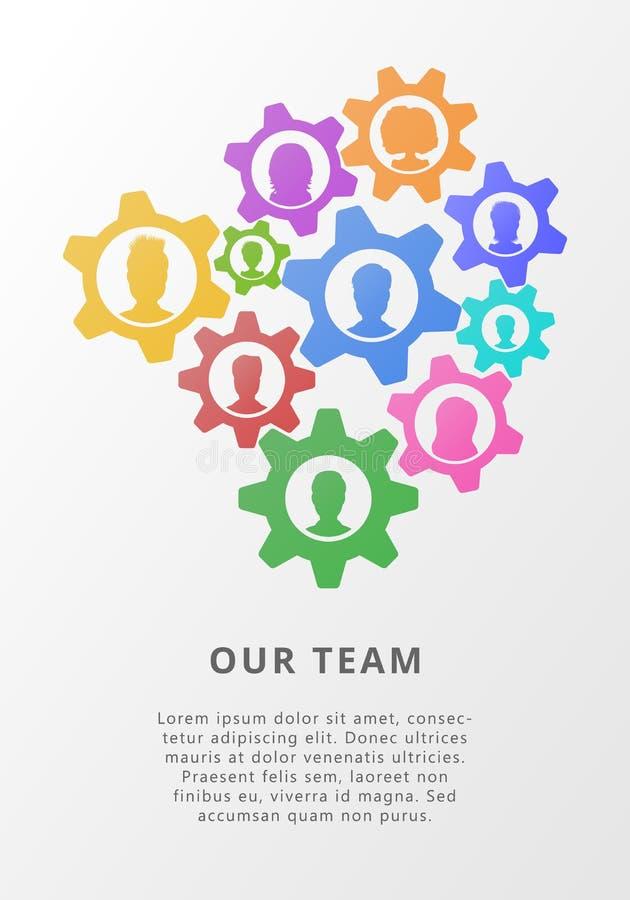 Concepto del trabajo en equipo con los avatares del icono de los engranajes y de la gente Ejemplo plano del vector para la estrat libre illustration