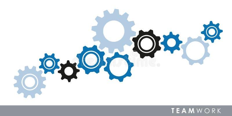 Concepto del trabajo en equipo con los dientes de los engranajes ilustración del vector