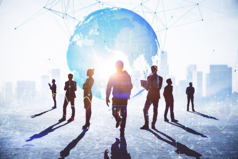 Concepto del trabajo en equipo, de la conexión y del negocio global fotos de archivo