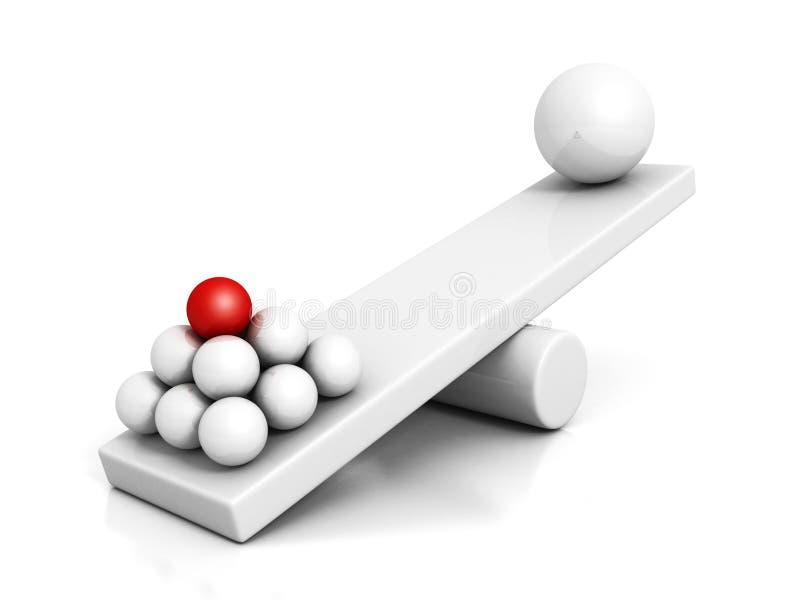 Concepto del trabajo en equipo de la dirección con las esferas en balanza stock de ilustración