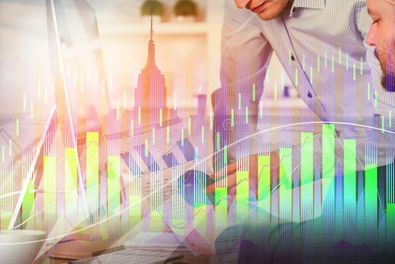 Concepto del trabajo en equipo, de la reunión y de la inversión stock de ilustración