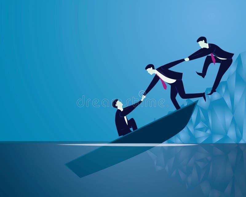 Concepto del trabajo en equipo del rescate de la recuperación del fracaso de negocio ilustración del vector