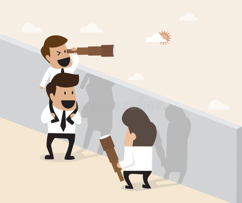 Concepto del trabajo en equipo: El hombre de negocios hace la pirámide acrobática para el ferther ilustración del vector