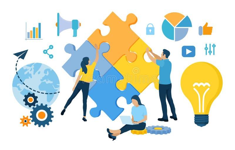 Concepto del trabajo en equipo Elementos de conexi?n del rompecabezas de la gente Personas del asunto Símbolo del trabajo en equi ilustración del vector