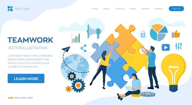 Concepto del trabajo en equipo Elementos de conexi?n del rompecabezas de la gente Personas del asunto S?mbolo del trabajo en equi libre illustration