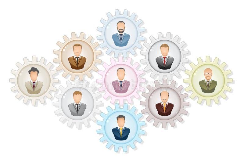 Concepto del trabajo en equipo: Hombre de negocios que trabaja junto, con los engranajes del colourfull ilustración del vector
