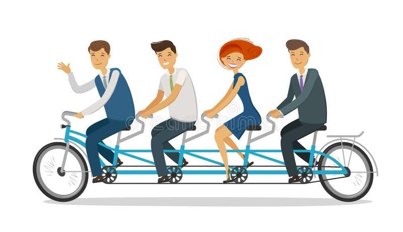 Concepto del trabajo en equipo Hombres de negocios o estudiantes que montan la bici en tándem Ilustración del vector de la histor ilustración del vector