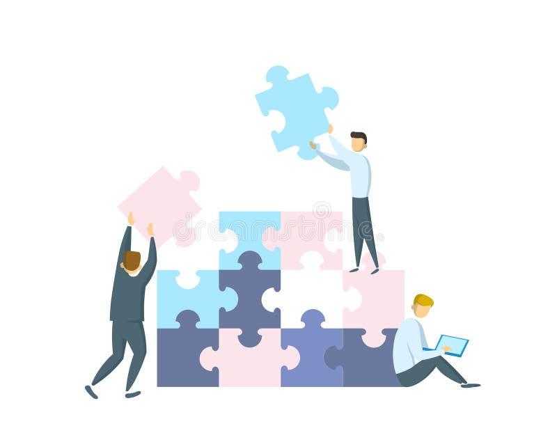Concepto del trabajo en equipo Hombres de negocios que trabajan junto y que se mueven hacia éxito Gente con los pedazos gigantes  libre illustration