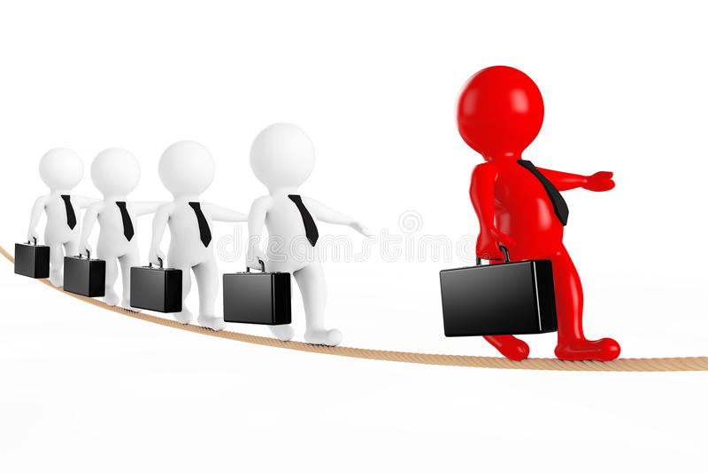 Concepto del trabajo en equipo Líder con el equipo del negocio equilibrado en cuerda 3d stock de ilustración