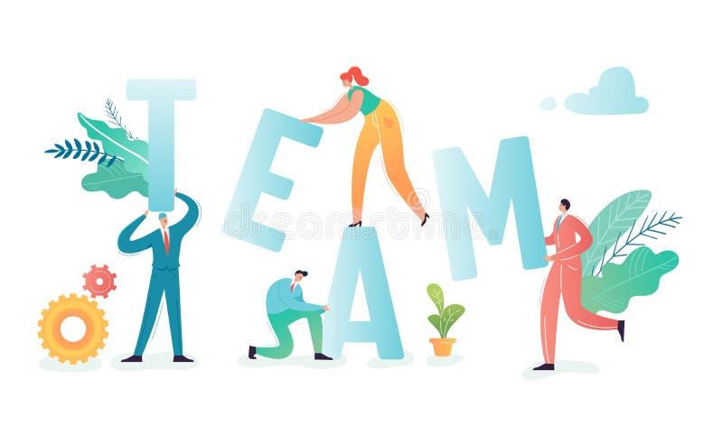 Concepto del trabajo en equipo Los hombres de negocios de los caracteres combinan stock de ilustración
