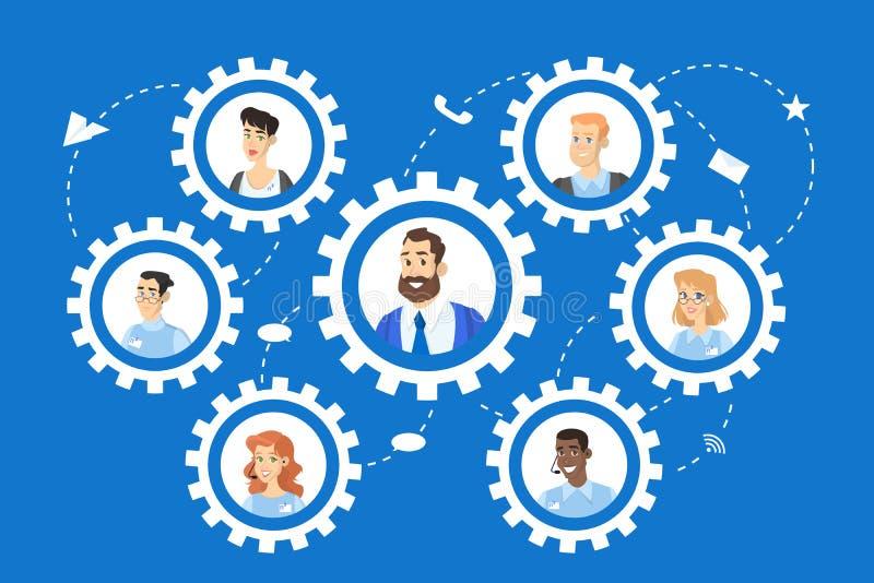 Concepto del trabajo en equipo Los hombres de negocios trabajan en equipo como engranaje stock de ilustración