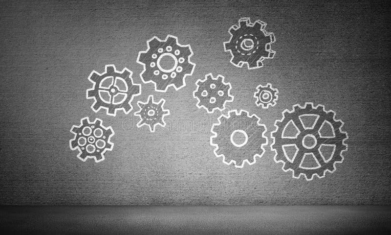 Concepto del trabajo en equipo mediante mecanismo de engranaje imagen de archivo