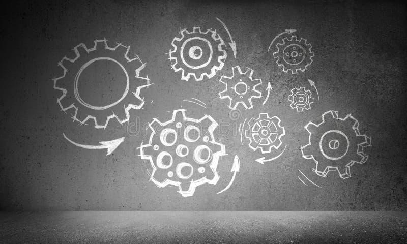 Concepto del trabajo en equipo mediante mecanismo de engranaje libre illustration