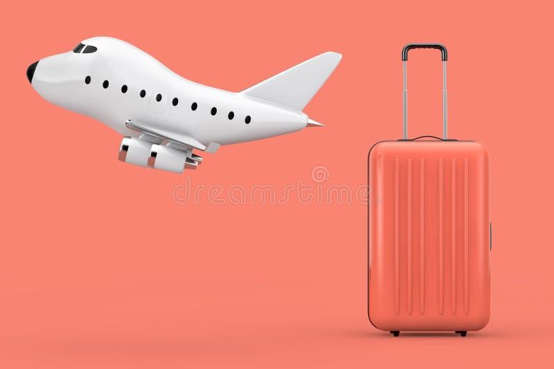 Concepto del transporte aéreo Maleta multicolora grande del policarbonato con la historieta Toy Jet Airplane representación 3d ilustración del vector