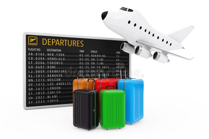 Concepto del transporte aéreo Maletas multicoloras grandes del policarbonato stock de ilustración