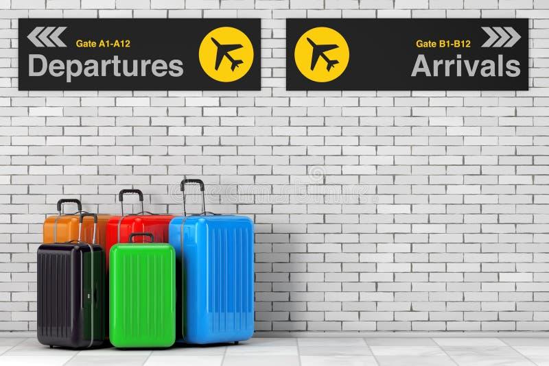 Concepto del transporte aéreo Ne multicolor grande de las maletas del policarbonato libre illustration