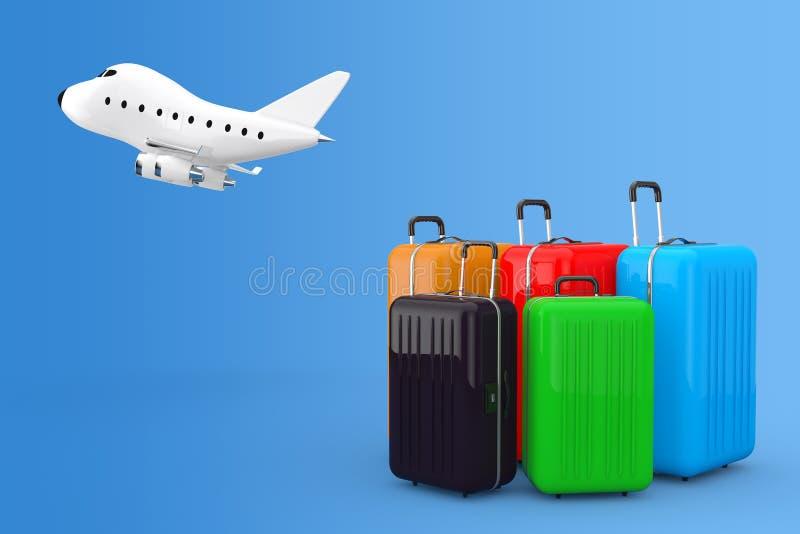 Concepto del transporte aéreo Wi multicolores grandes de las maletas del policarbonato libre illustration
