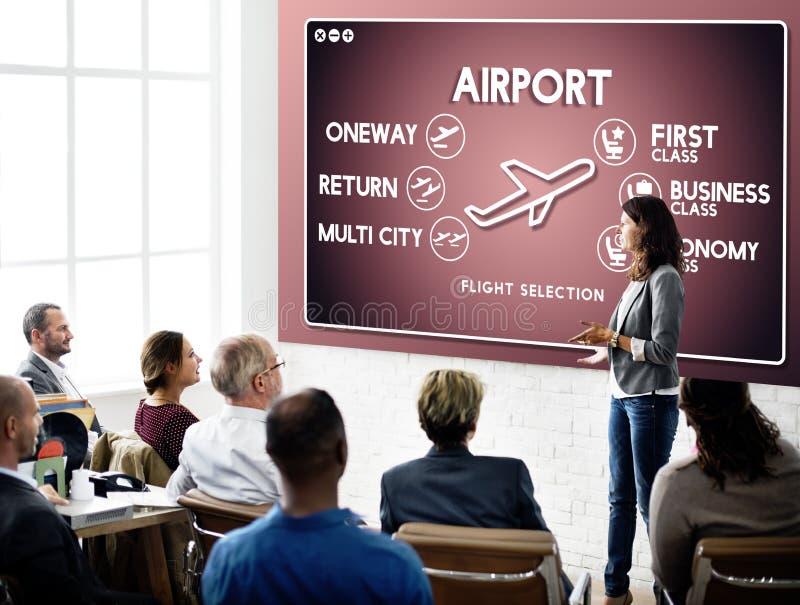 Concepto del transporte de la selección del boleto del vuelo del aeropuerto fotografía de archivo libre de regalías