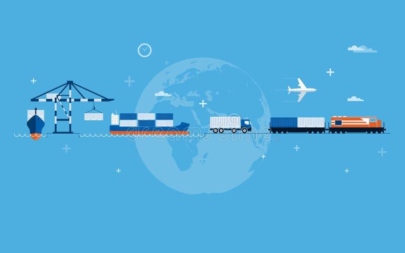 Concepto del transporte del mundo stock de ilustración