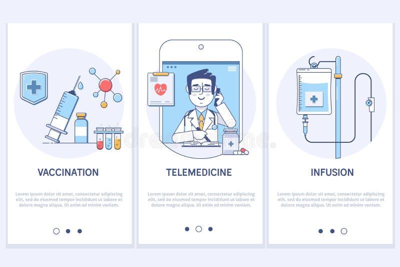 Concepto del tratamiento médico Telemedicina Consulta médica en línea Jeringuilla y lechada Infusión médica Pantalla del GUI de U libre illustration