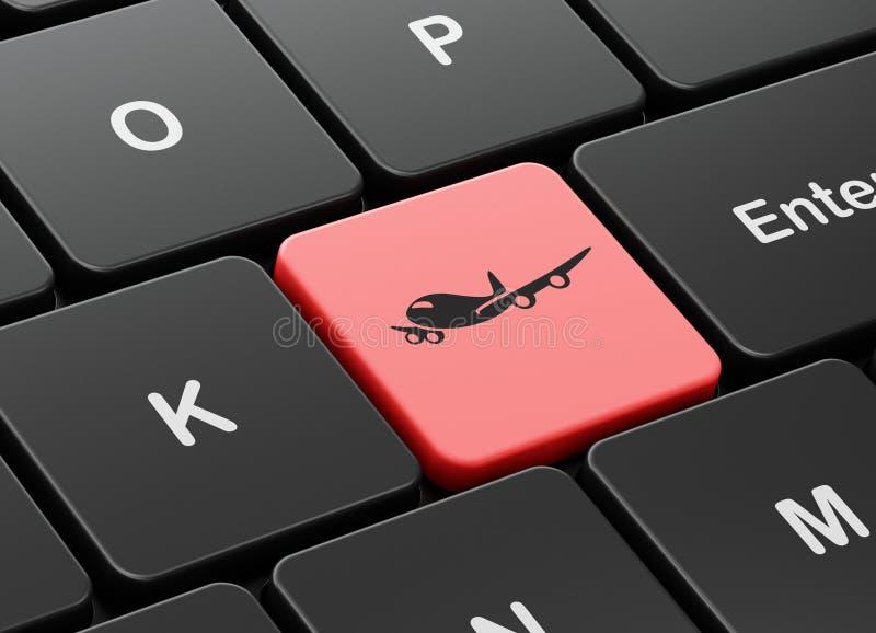 Concepto del turismo: Aeroplano en fondo del teclado de ordenador ilustración del vector