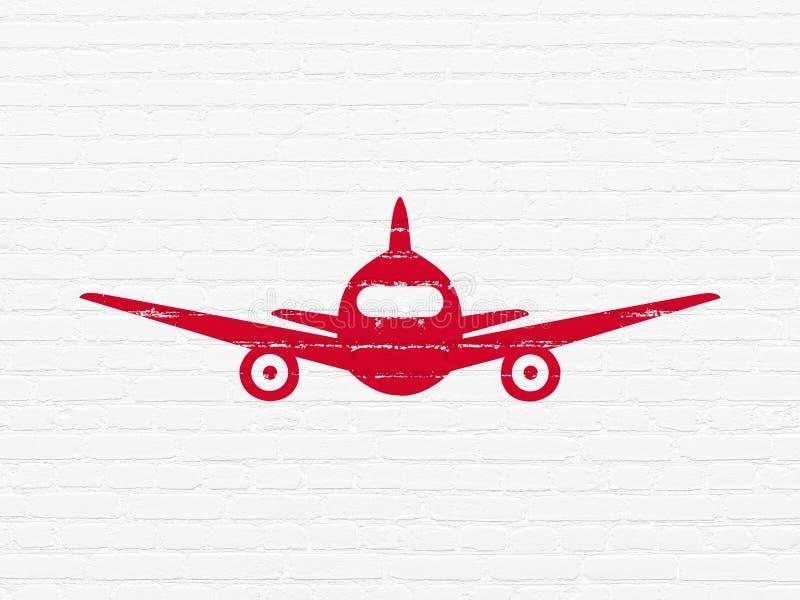 Concepto Del Turismo Aviones En Fondo De La Pared Stock De Ilustración Ilustración De Mosca Ladrillo 118877713