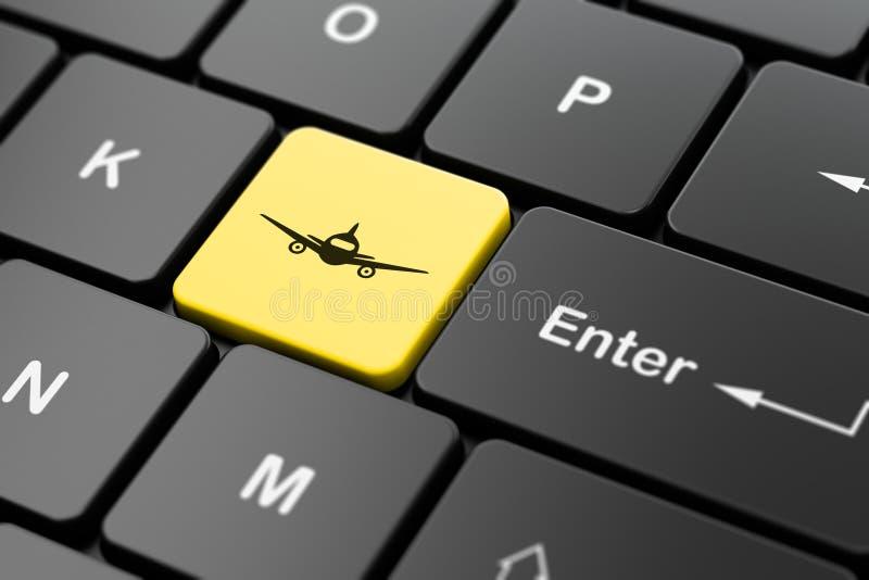 Concepto del turismo: Aviones en fondo del teclado de ordenador ilustración del vector