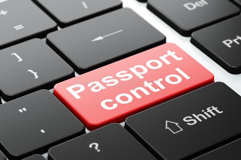 Concepto del turismo: Control de pasaportes en fondo del teclado de ordenador stock de ilustración