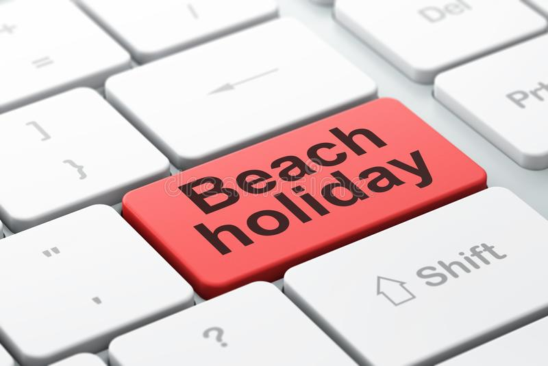 Concepto del turismo: Día de fiesta de la playa en fondo del teclado de ordenador stock de ilustración
