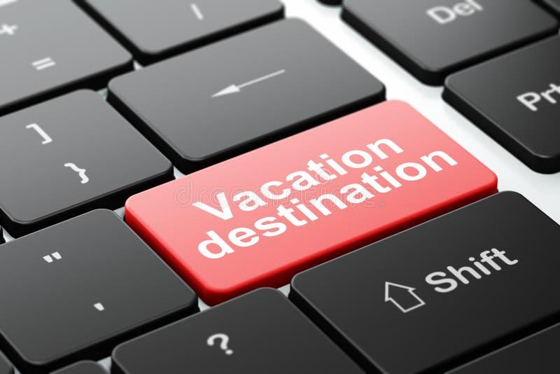 Concepto del turismo: Destino de las vacaciones en fondo del teclado de ordenador stock de ilustración