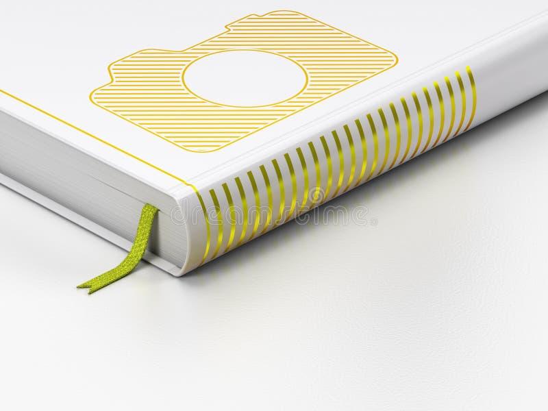Concepto del turismo: libro cerrado, cámara de la foto encendido libre illustration