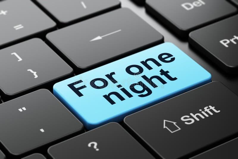 Concepto del turismo: Para una noche en fondo del teclado de ordenador ilustración del vector