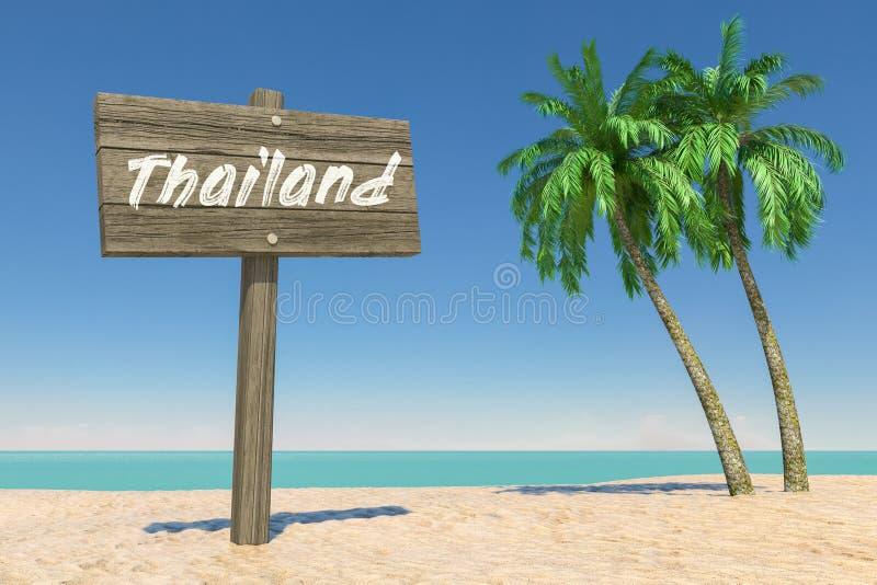 Concepto del turismo y del viaje La dirección de madera Signbard con Tailandia firma adentro la playa tropical de Paradise con la foto de archivo libre de regalías