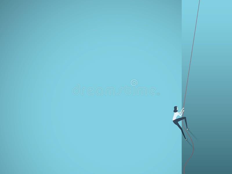 Concepto del vector del acantilado de la mujer de negocios que sube o de la pared de la roca Símbolo de la determinación, foco, a ilustración del vector
