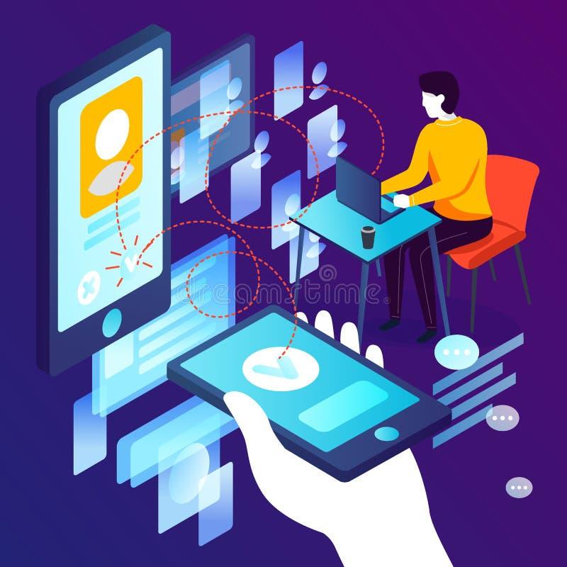 Concepto del vector - aplicación móvil que fecha en línea libre illustration